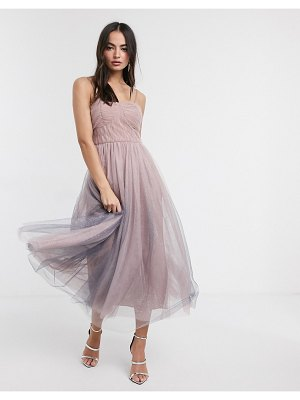 Forever U tulle bandeau dress with ombre glitter in pink and blue
