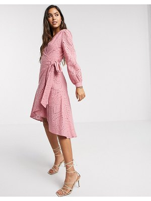 Forever U wrap broderie midi dress in blush-pink