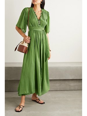 Forte Forte gathered embroidered cotton and silk-blend voile maxi dress