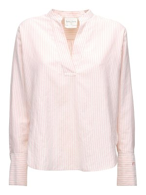 FORTE_FORTE Striped cotton blend poplin shirt