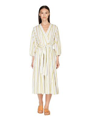 FORTE_FORTE Striped cotton blend wrap dress