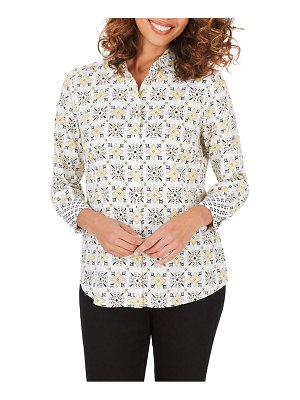 Foxcroft ava decorative tile wrinkle free shirt