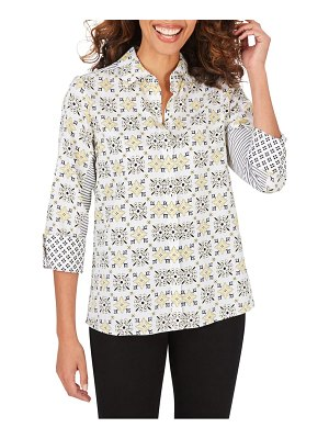 Foxcroft britten decorative tile cotton sateen button-up blouse