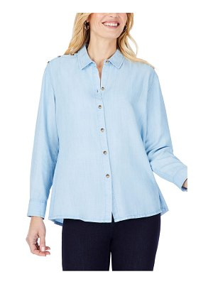 Foxcroft brynn relaxed fit shoulder button detail blouse