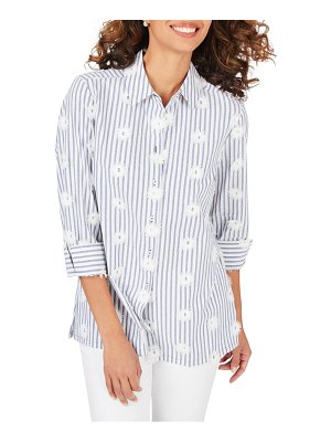 Foxcroft libby sea stripe embroidered tunic shirt