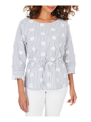 Foxcroft marina sea stripe embroidered top