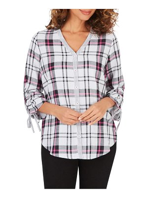 Foxcroft marlin plaid ruched sleeve cotton button-up blouse