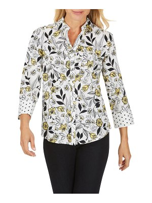 Foxcroft mary floral toile no-iron cotton sateen button-up shirt