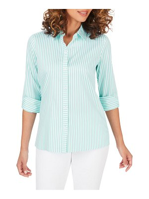 Foxcroft morgan stripe non-iron button-up cotton blend shirt