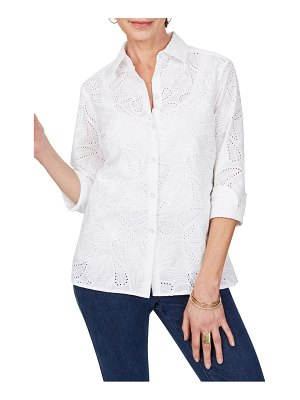 Foxcroft morgan tropical eyelet shirt
