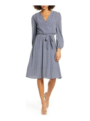 Fraiche by J long sleeve faux wrap dress