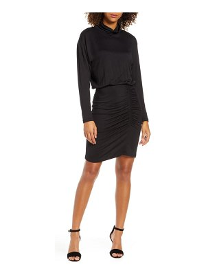Fraiche by J ruched long sleeve turtleneck dress