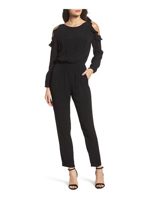Fraiche by J ruffle cold shoulder jumpsuit