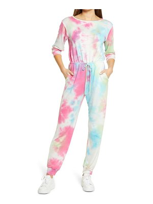 Fraiche by J tie dye long sleeve jumpsuit