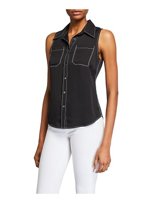 FRAME 70s Sleeveless Collared Contrast Stitch Top