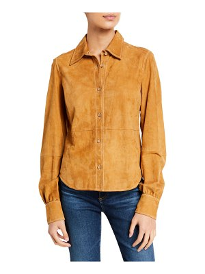 FRAME 70s Suede Button-Down Shirt