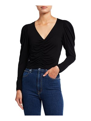 FRAME Agnes V-Neck Puff-Sleeve Jersey Top