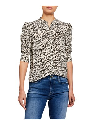 FRAME Animal-Print Shirred Sleeve Button-Up Top