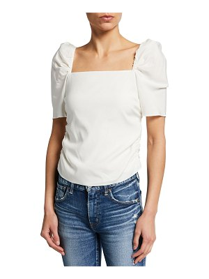 FRAME Betty Ruched Square-Neck Top