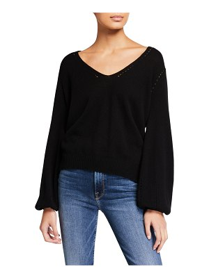 FRAME Sustainable Cashmere Pointelle V-Neck Sweater