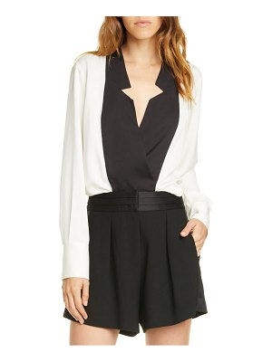FRAME contrast inverted notch collar silk top