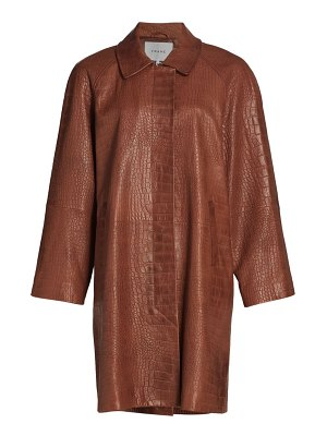 FRAME crocodile-embossed leather trench coat