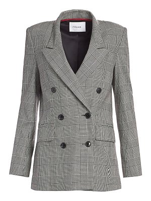 FRAME double breasted houndstooth plaid blazer