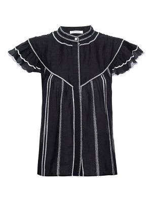 FRAME embroidered ruffle sleeve top