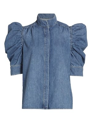 FRAME gillian denim puff-sleeve blouse