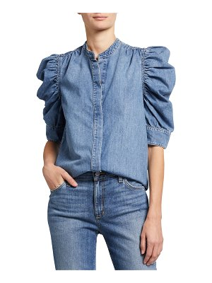 FRAME Gillian Puff-Sleeve Chambray Top