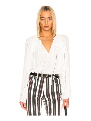 FRAME lattice peasant top