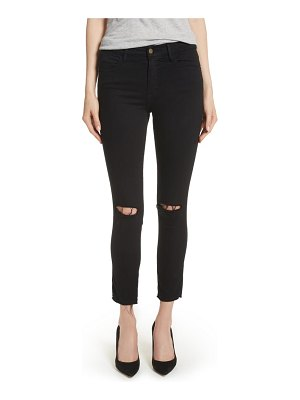 FRAME le high ripped crop skinny jeans