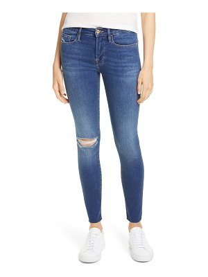 FRAME le raw edge ripped crop skinny jeans