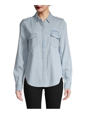FRAME Denim Logo Denim Button-Down Shirt