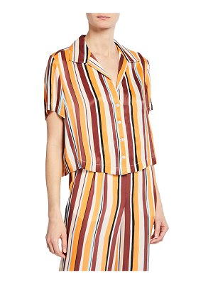 FRAME Mini Striped Button-Front Short-Sleeve Shirt