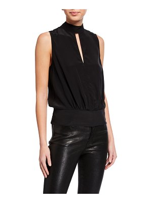FRAME Mock-Neck Sleeveless Party Top