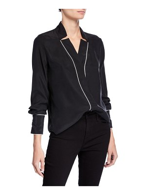 FRAME Notch Collar Silk Blouse with Piping