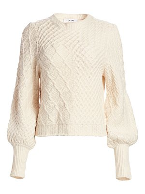 FRAME patchwork cable-knit crewneck sweater