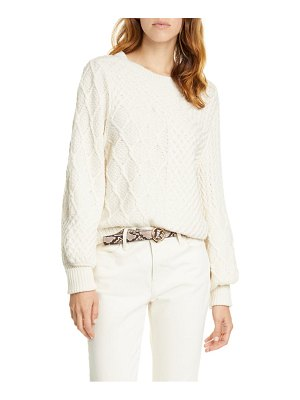 FRAME patchwork cable knit wool blend sweater