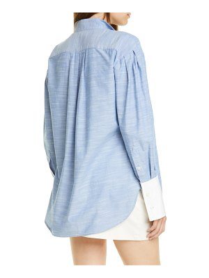 FRAME pleated contrast cuff shirt