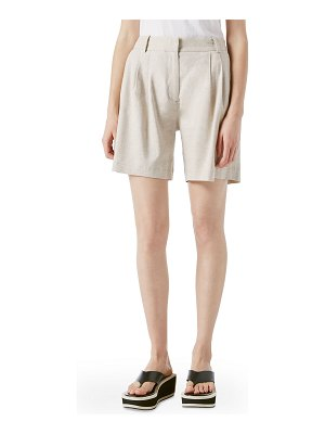 FRAME Pleated Linen Shorts