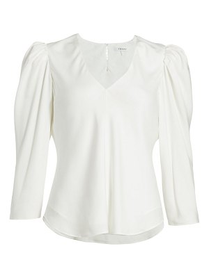 FRAME puff-sleeve silk v-neck top