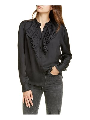 FRAME ruffle neck tux top