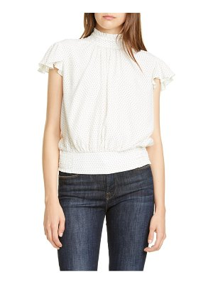 FRAME ruffle smocked silk top