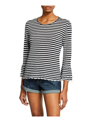 FRAME Scalloped Bell-Sleeve Striped Top