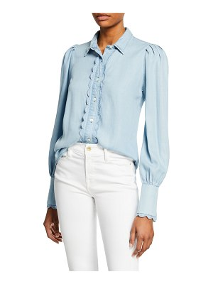 FRAME Scalloped Button-Front Denim Top