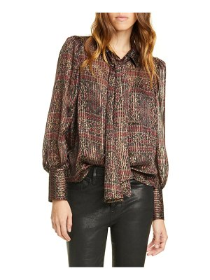 FRAME scarf neck pleated metallic silk blouse