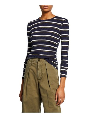 FRAME Shirred Long-Sleeve Striped Top