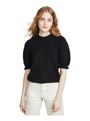 FRAME shirred short sleeve cashmere sweater