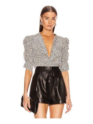FRAME shirred sleeve button up top